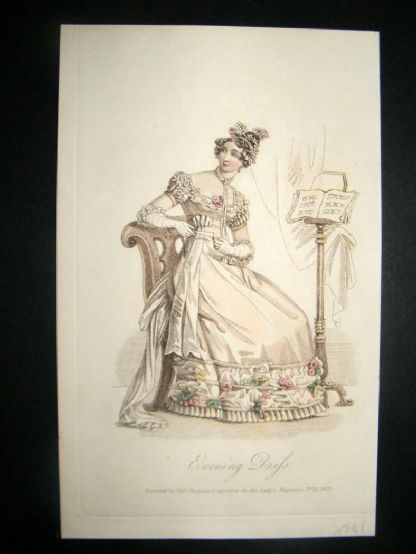 Lady's Magazine 1823 H/Col Regency Fashion Print. Evening Dress 46 | Albion Prints